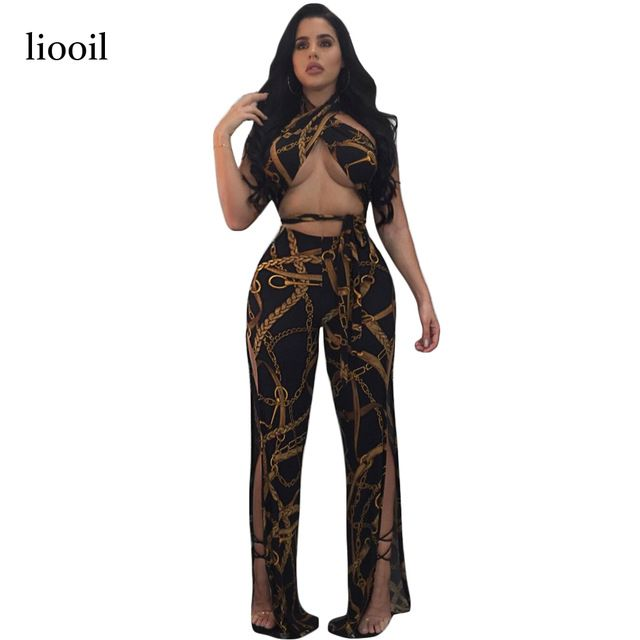 61853e652488 Liooil Two Piece Chain Print Jumpsuits Sleeveless Halter Hollow Out Sides  Split Summer Jumpsuit Backless Sexy Club Women Rompers-in Jumpsuits from  Women s ...