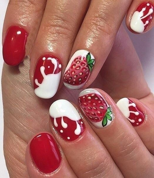 Manikyur Klubnika Fabulous Nails Summer Nails
