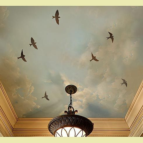 Ceiling stencil with sparrows.
