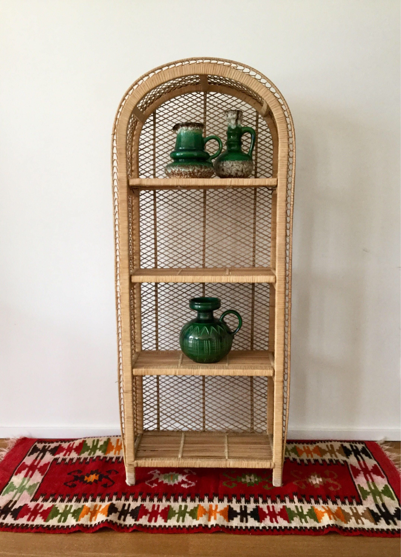 70s Rattan Bamboo Shelf Bambus Regal Rattan 70er Jahre