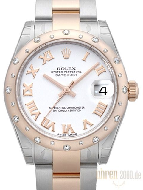 Rolex Datejust 31 Edelstahl Rosegold Diamant Lunette 178341 Weiss R