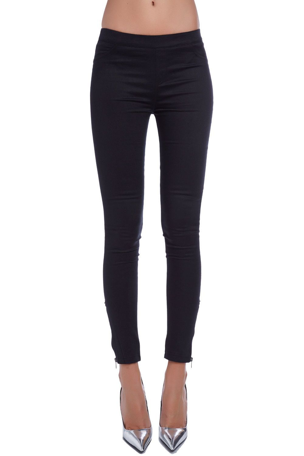 ce08ace118b40b Black Leggings with Back Pocket Detail and Ankle Zips | Products ...