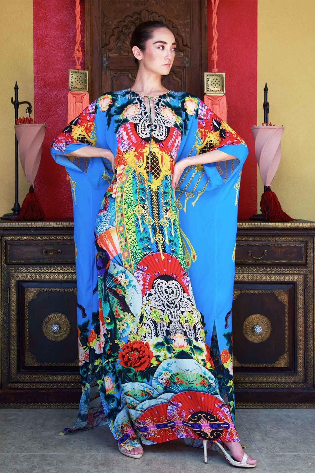 2dca7b36d7 Blue Japanese Print Kaftan Dress - Designer Women's Clothing - Shahida  Parides®