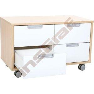 Schrank S mit 4 schmalen Schubladen, B 79 - auf Rollen - weiß  (Quadro 28)