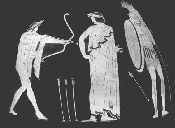 Image result for paris shooting achilles vase