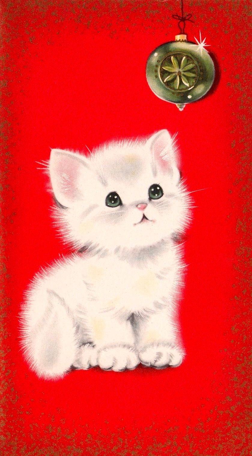 Baby Kitten Christmas Kitten Vintage Christmas Card Retro Christmas Card Bichinho Aquarela Fofinhos