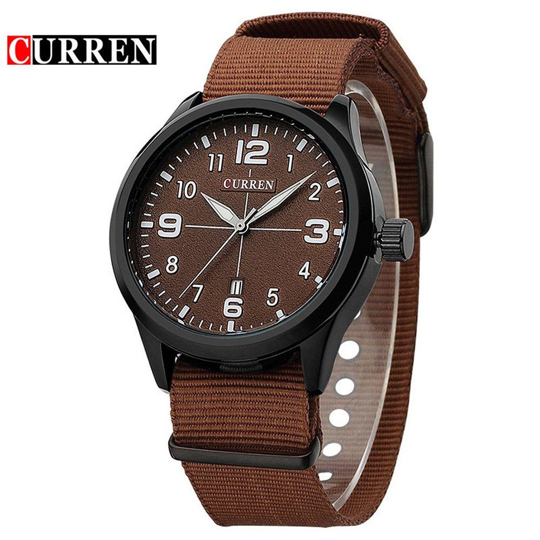 Amazon.com: CURREN 8195 Fashion Mens Sport Simple Quartz Watch With Coffee Dial Coffee Nylon Strap: Watches