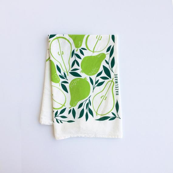 Kitchen Tea Towel Pears Michigan Made Usa Flower Sack