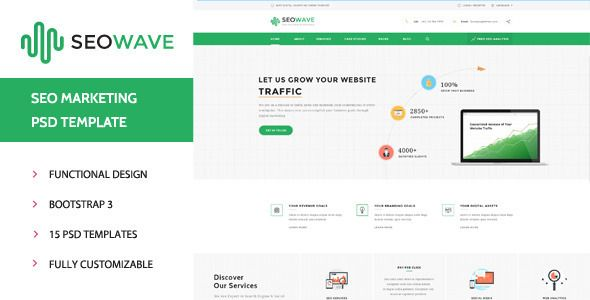 Seo Wave Company Psd Template By Wpmines Check Out Our Premium WordPress Themes Features18 File Included Fully Layered E