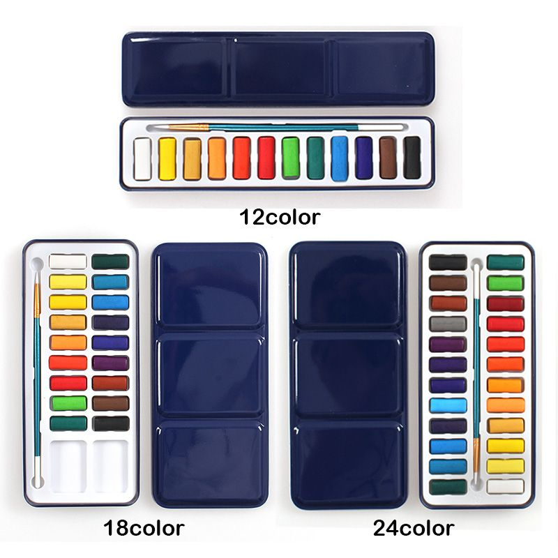 3 Styles Tragbare Blechdose Solide Aquarellfarben Fur Kunstler