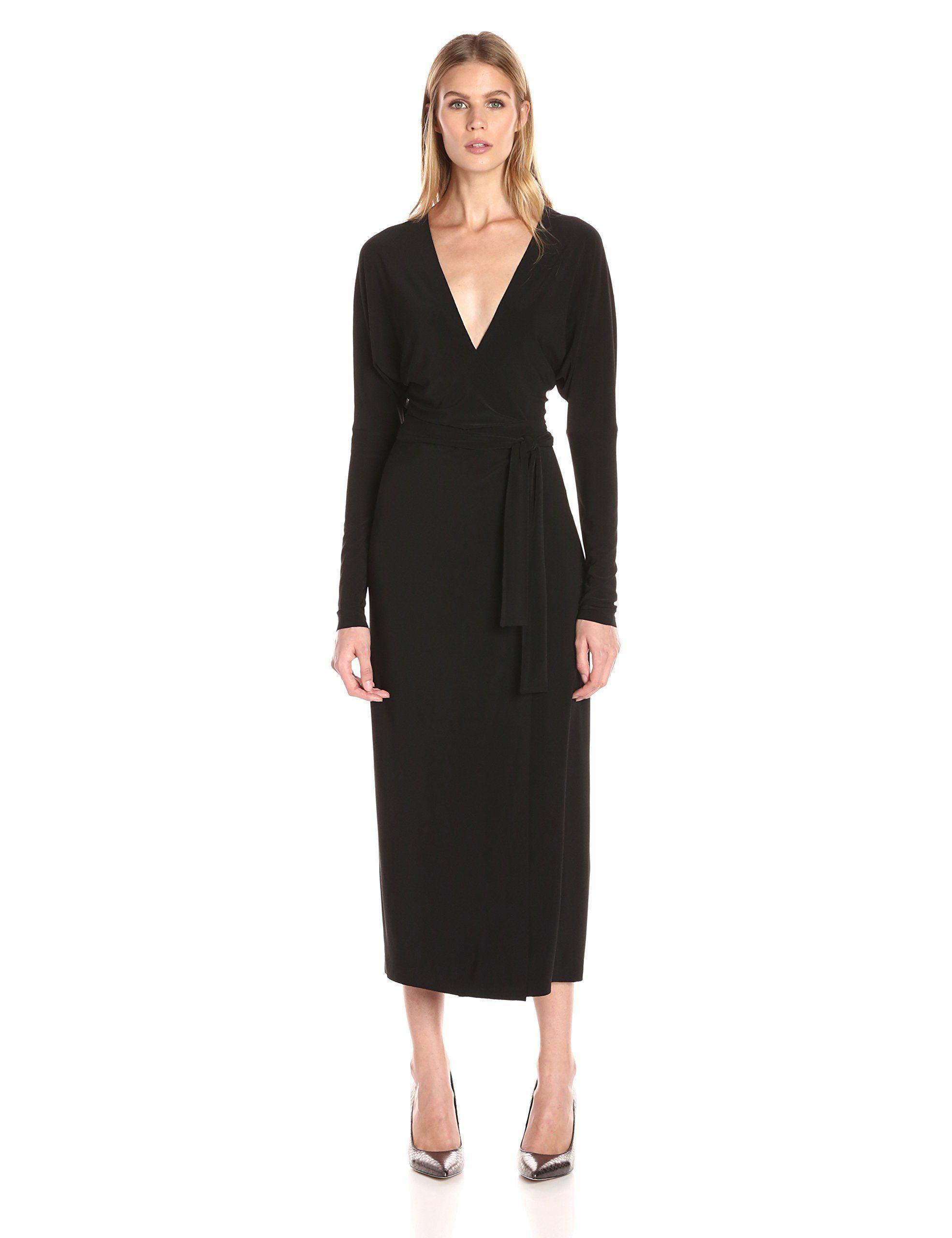 Norma Kamali Women's Dolman Wrap Dress V-Neck Line, Black, S. Wrap ...