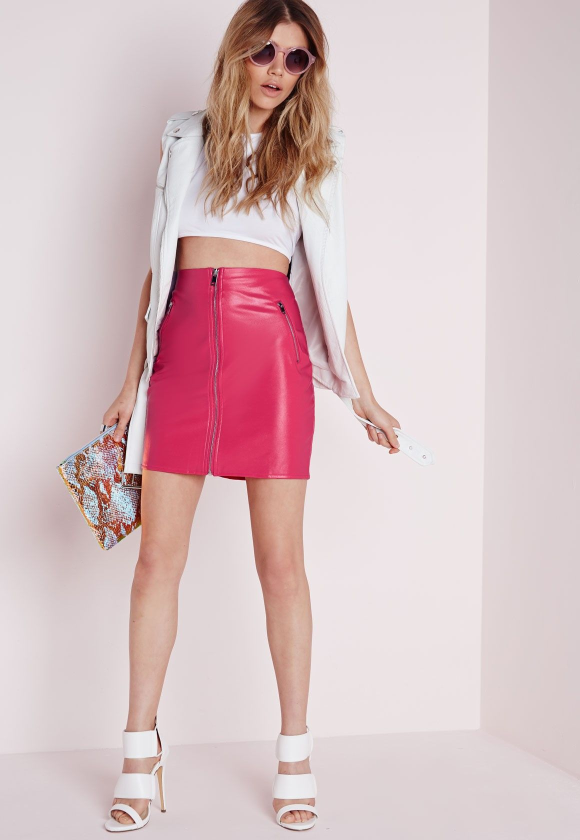 Missguided - Zip Front Faux Leather Mini Skirt Pink