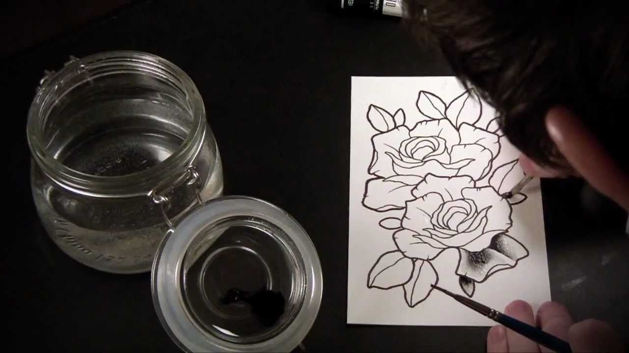 f9d005bf8 Spit Shading Lesson - Tutorial & Speed Drawing of Tattoo Flash Roses  (Music's rather loud in this)