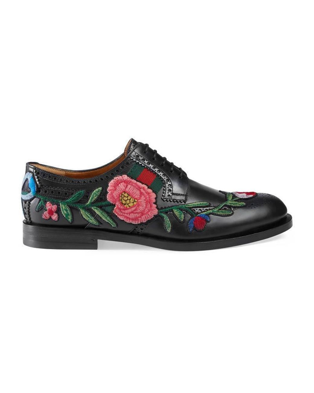 d9d39dcd8 Gucci | Black Leather Brogue Lace-up With Embroidery for Men | Lyst ...