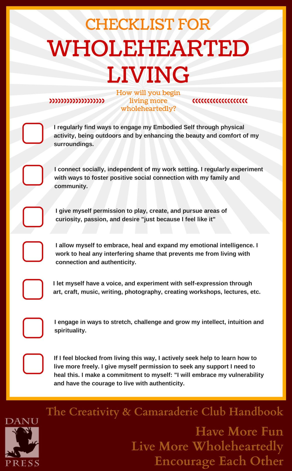 Click Through To Learn The 1 Enemy Of Wholehearted Living How Many On The Checklist Are You