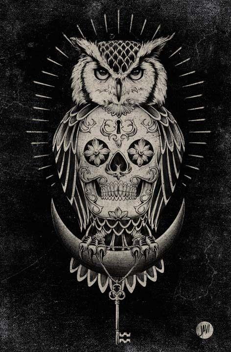 Tatuajes De Buhos Con Calaveras Buscar Con Google Tatujes De