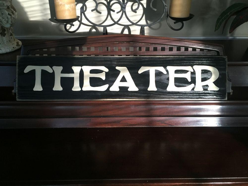 Theater Home Cinema Movie Media Room Primitive Rustic Sign Hp Wooden 26 Plaque