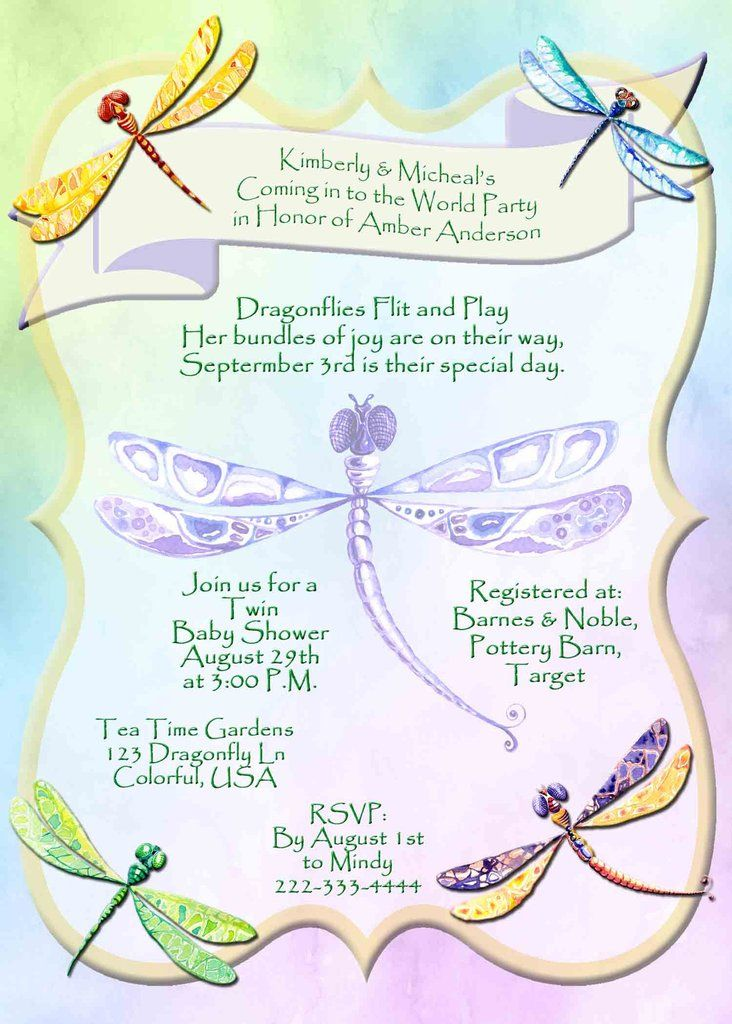 Dragonfly multi color with frame baby shower invitation custom dragonfly multi color with frame baby shower invitation custom printable filmwisefo Images