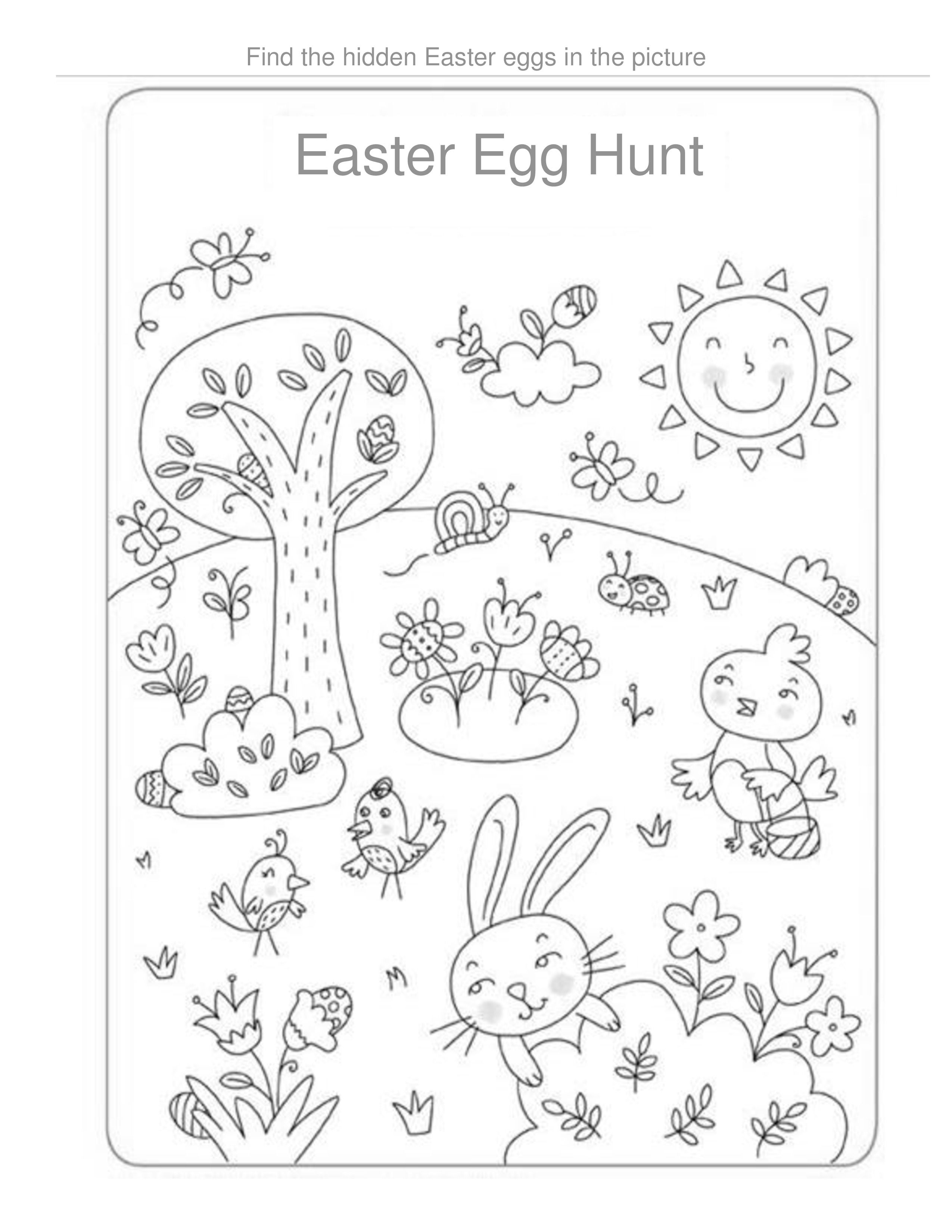 Find The Hidden Easter Eggs In The Coloring Page In