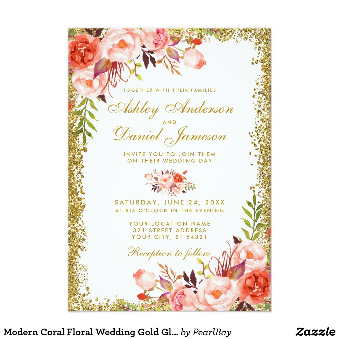Modern Coral Floral Wedding Gold Glitter W Invitation � Affiliate Ad Link Fun Invites Customize These Invitations Cards Products For: Gl Frames Wedding Invitation At Websimilar.org