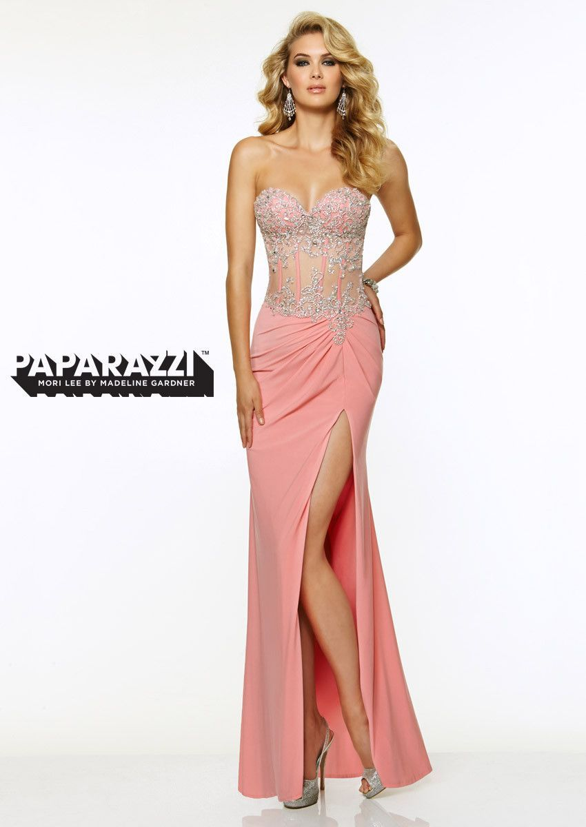 Paparazzi by Mori Lee 97020 prom dress, see through stomach, jersey ...