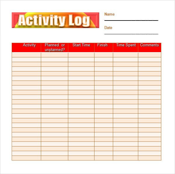 Activity Log Template  Activity Log Template    Template