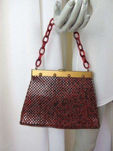 Rare Vintage 50 S Whiting Davis Burgundy Mesh Handbag W Bakelite Chain Handle Ebay