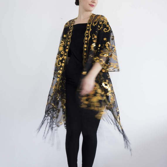 74856e6a2e2cd Sheer Lace Sequins Fringe Cocktail Party Kimono Gold by Urbe ...