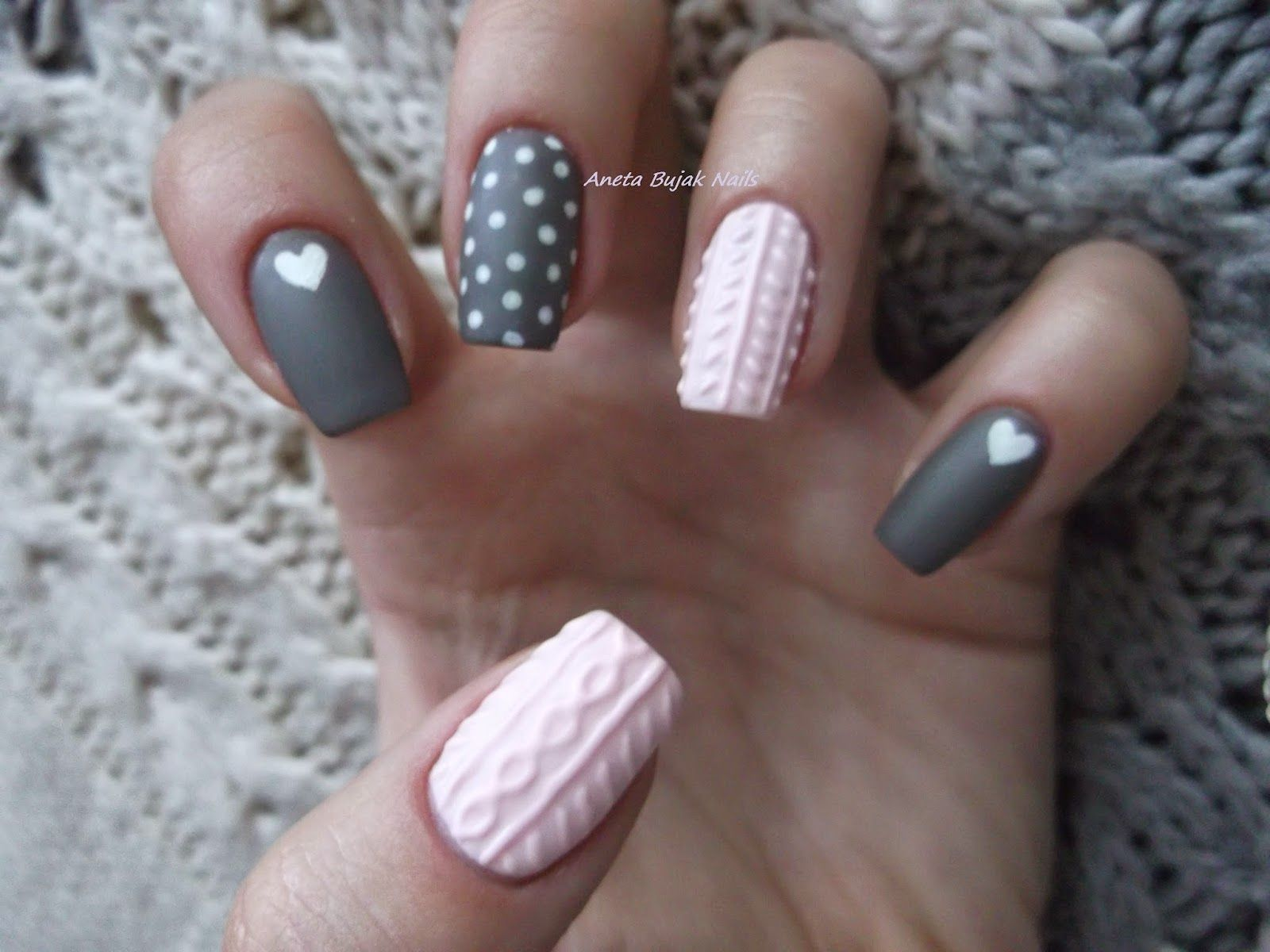 Sweterkowe Paznokcie Knit Nails With Images Manicure Na Zime