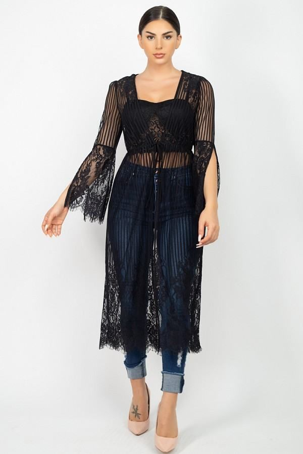 Imported S.M.LA knit sheer vest, featuring stripe lace cinched scallop edge kimono a plunging V-neckline, an open front, and a over the knee length.100% Nylon Black IRI Stripe Mesh Cardigan split Item Measurements: SIZE SMeasurements: SIZE SLength: