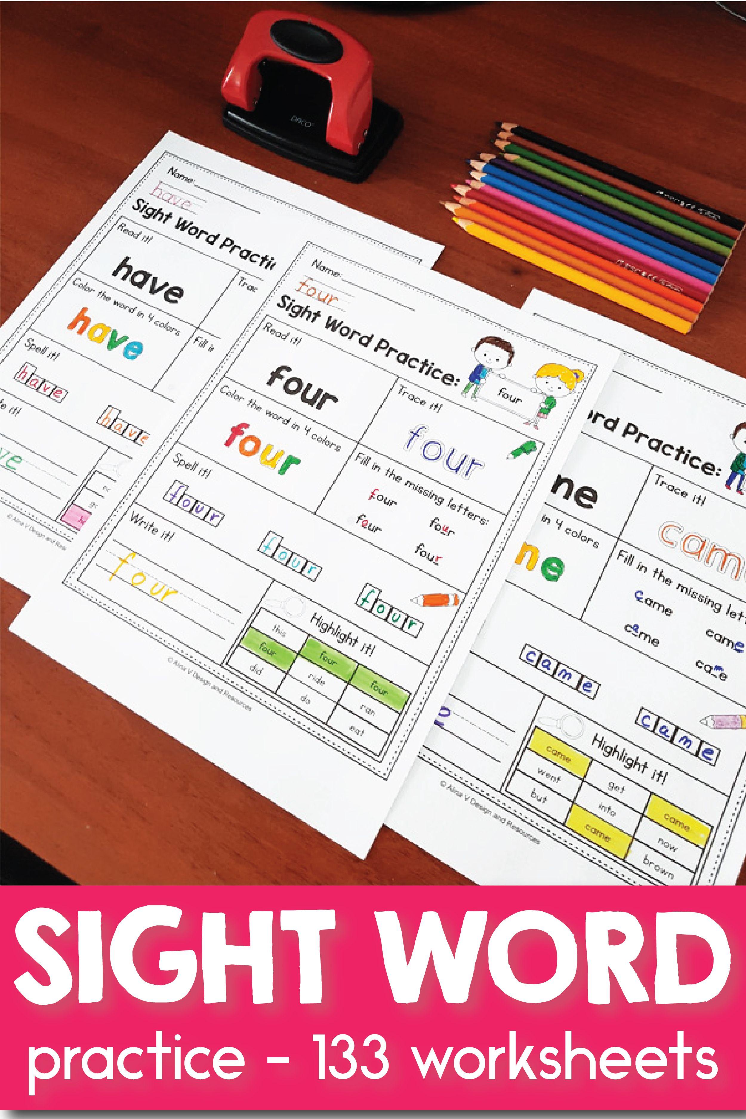Mega Bundle Sight Word Practice Kindergarten Sight Words