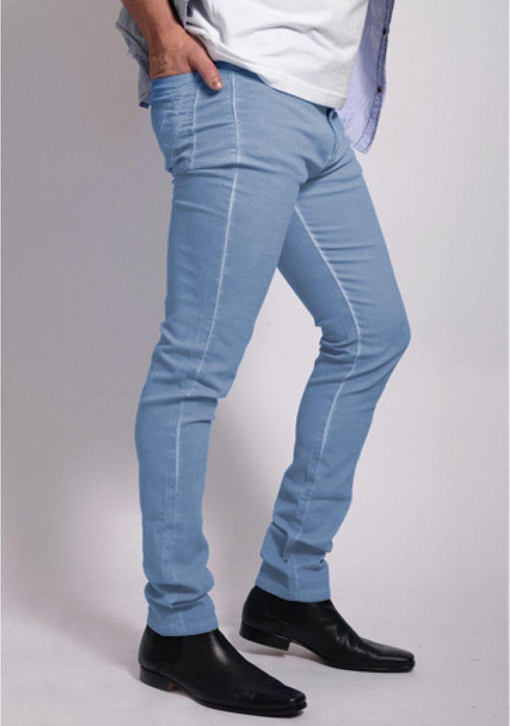 Pantalon Chupin Elastizado Celeste Relax Multimarcas Fashion Men Pants