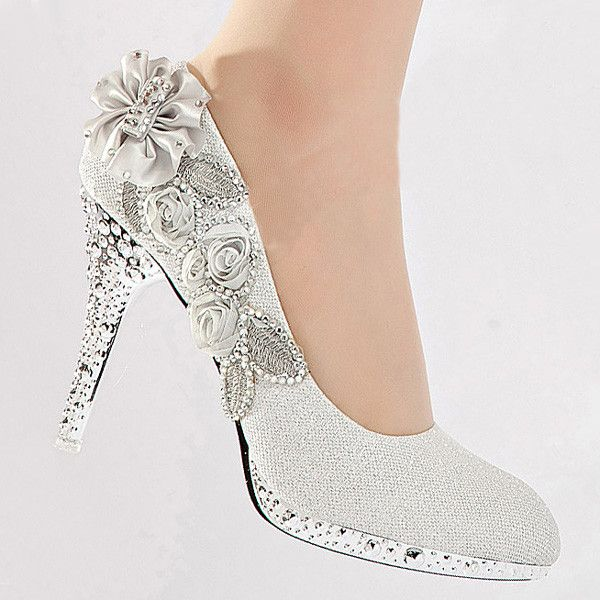 Vogue Lace Flowers Glitter Crystal High Heels Wedding Bridal Shoes Silver Us 9