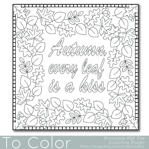 Leaf Coloring Pages Pdf : Autumn leaves coloring page for adults pdf jpg by