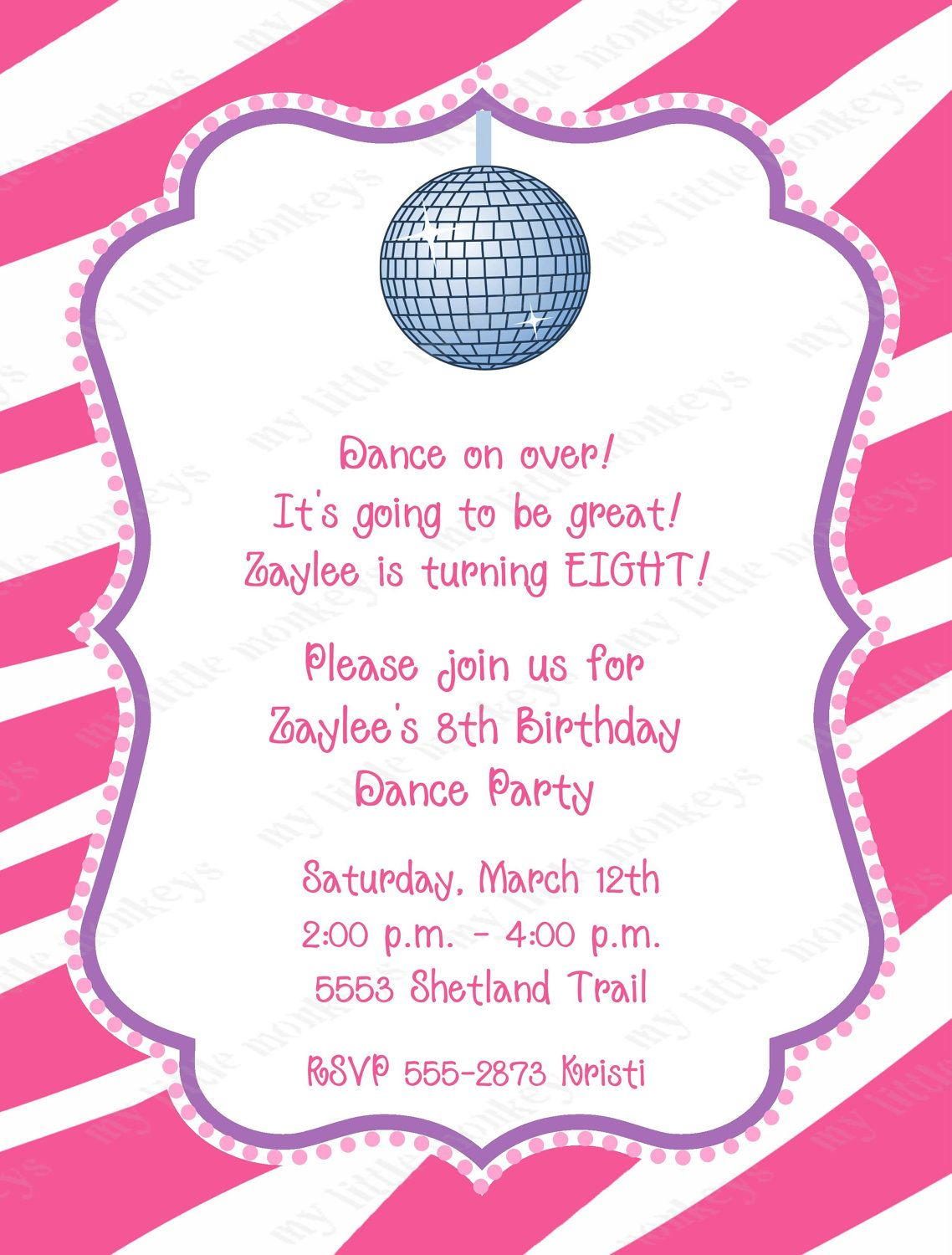 10 Dance Disco Birthday Party Invitations with Envelopes. Free ...