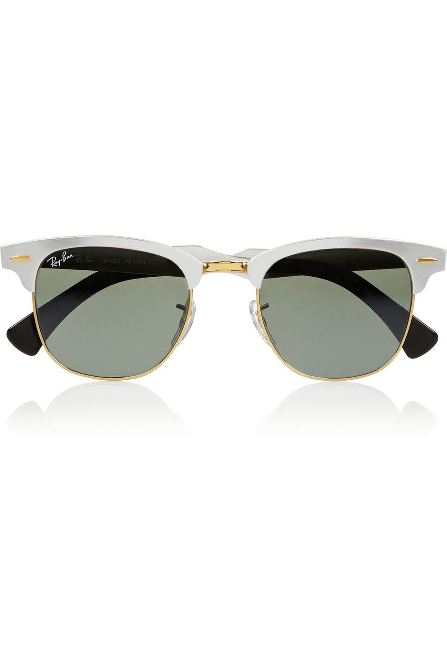 Ray-Ban   Clubmaster D-frame mirrored aluminum sunglasses    NET-A-PORTER.COM    205   These ooze Apple aluminum appeal. 52c544ed6e15