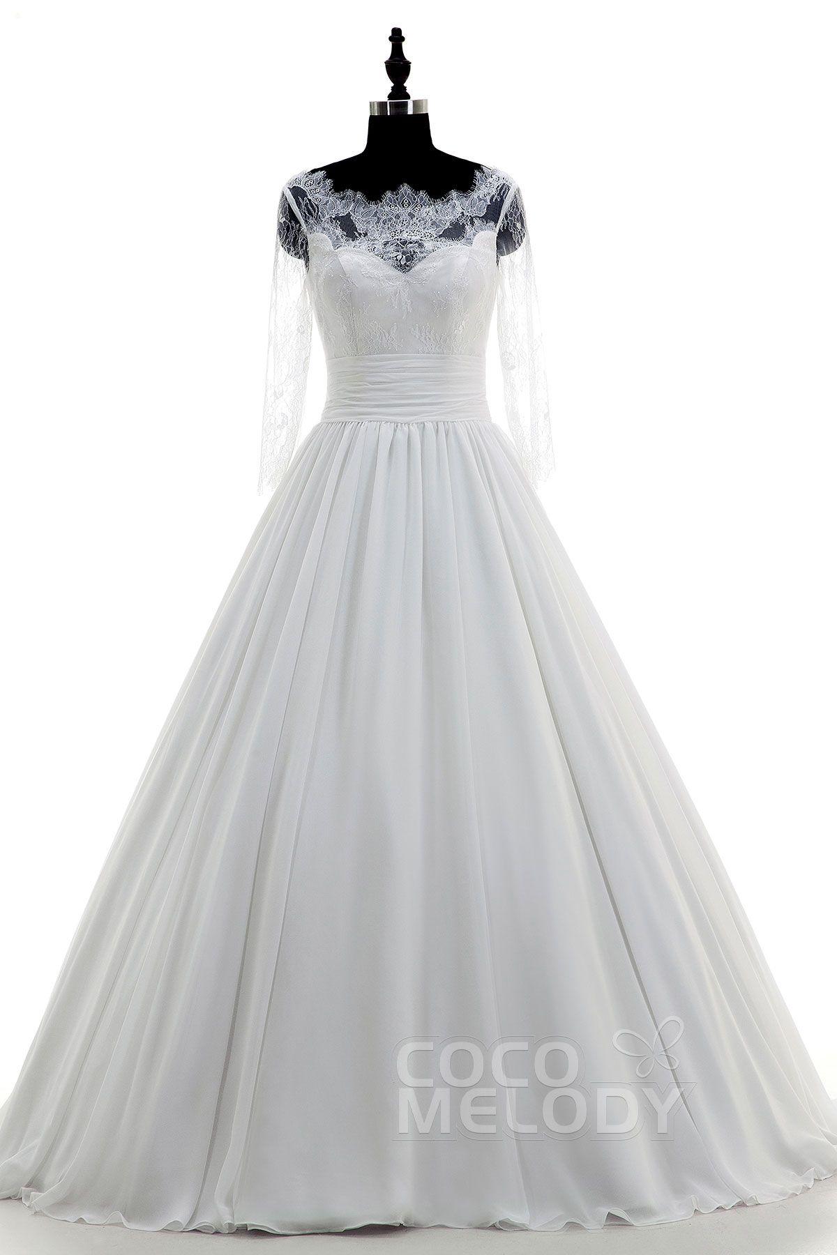 3/4 length lace wedding dress  Fantastic Illusion Train Chiffon Ivory  Length Sleeve Wedding