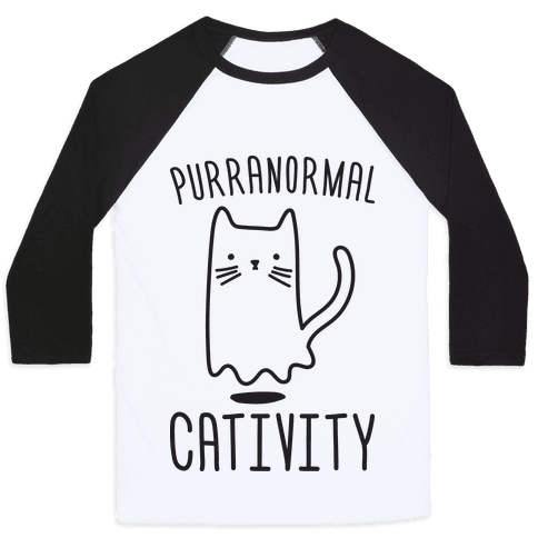 Purranormal Cativity Ghost Cat Women/'s Fitted T-Shirt Halloween
