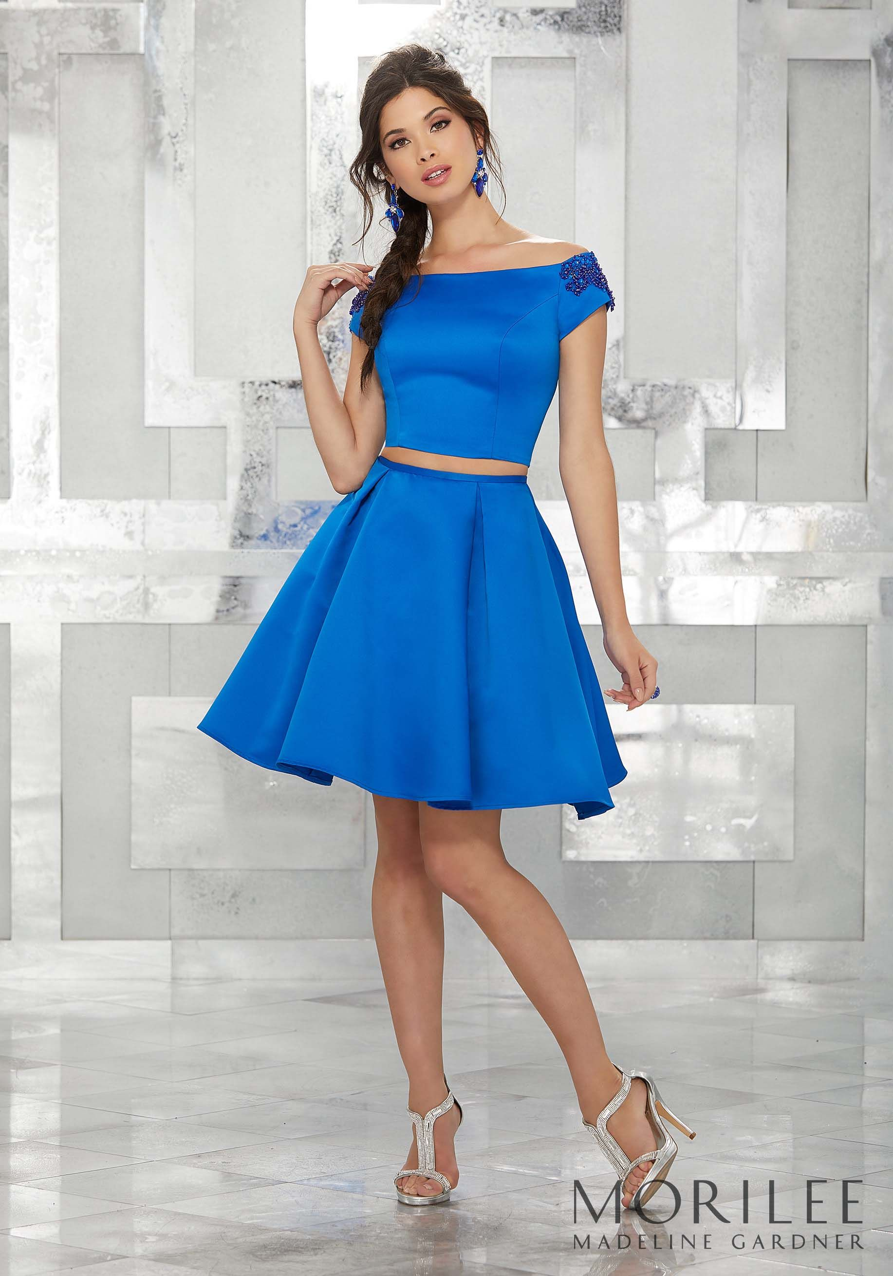 Blue Two Piece Satin Party Dress With Beaded Off The Shoulder Cap Sleeves Colors Available Royal Fuchsia Black Black Cherry Babe Dress Party Dress Dresses [ 2620 x 1834 Pixel ]
