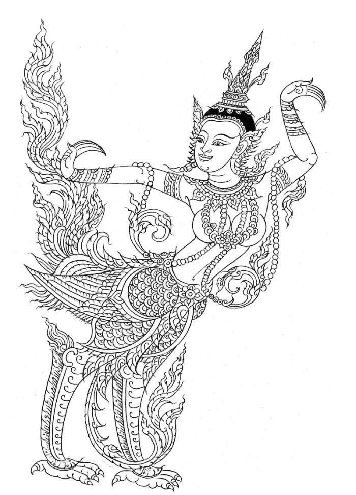 ภาพลายเส นส ตว ห มพานต ภาพวาดหม ก ภาพวาด เอกรงค