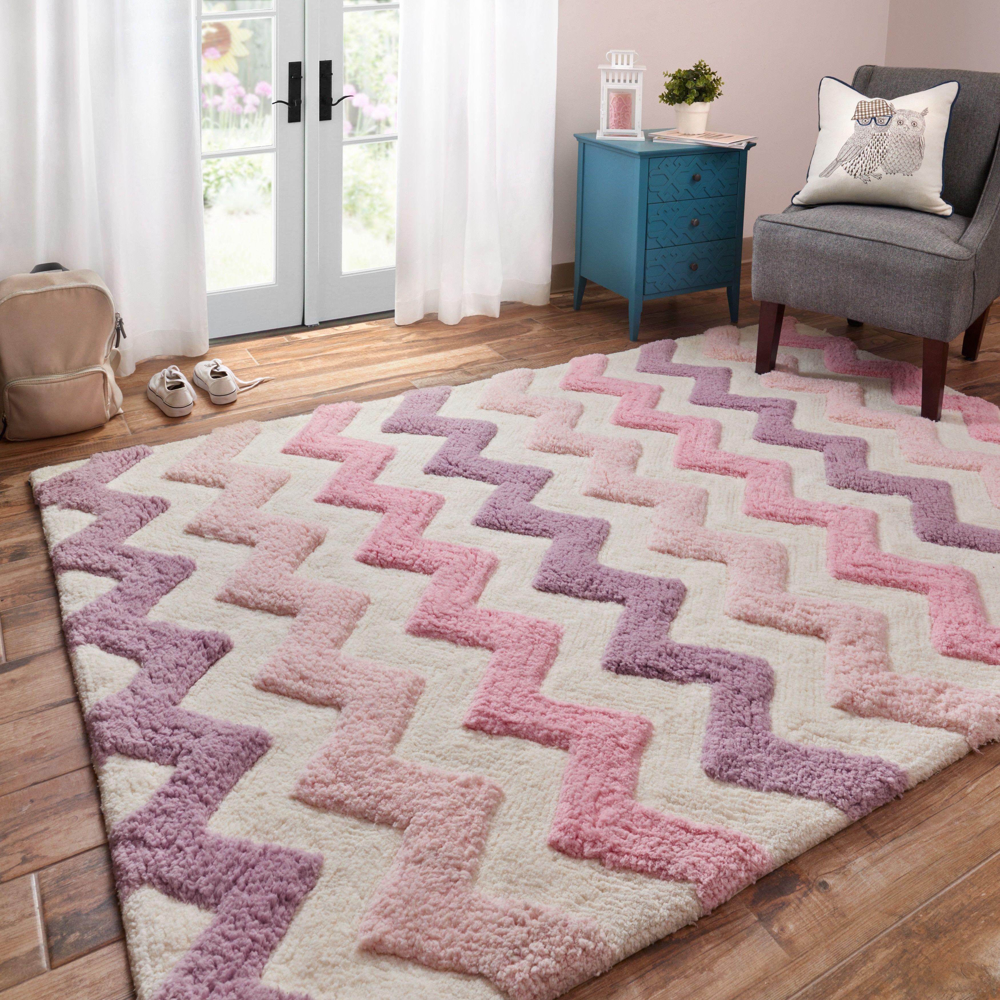 alexander home handtufted riley pink purple chevron shag rug 5u00270 x 7u00270 pink purple 5u00270 x 7u00270 size 5u0027 x 7u0027