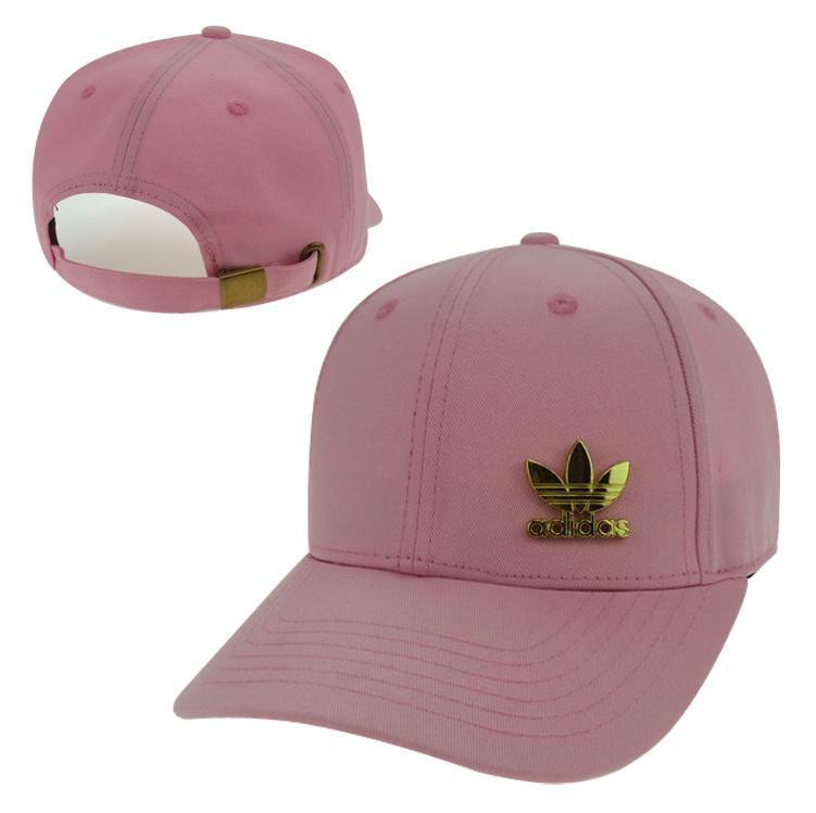 Men s   Women s Unisex Adidas Originals Gold Metal Iconic Logo Strap Back  Baseball Adjustable Hat - Pink 40434095b798