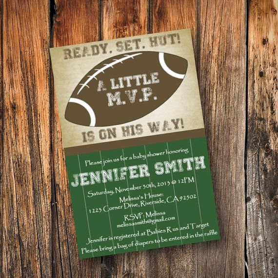 Football Baby Shower Invitation By Simpledevinedesign On Etsy