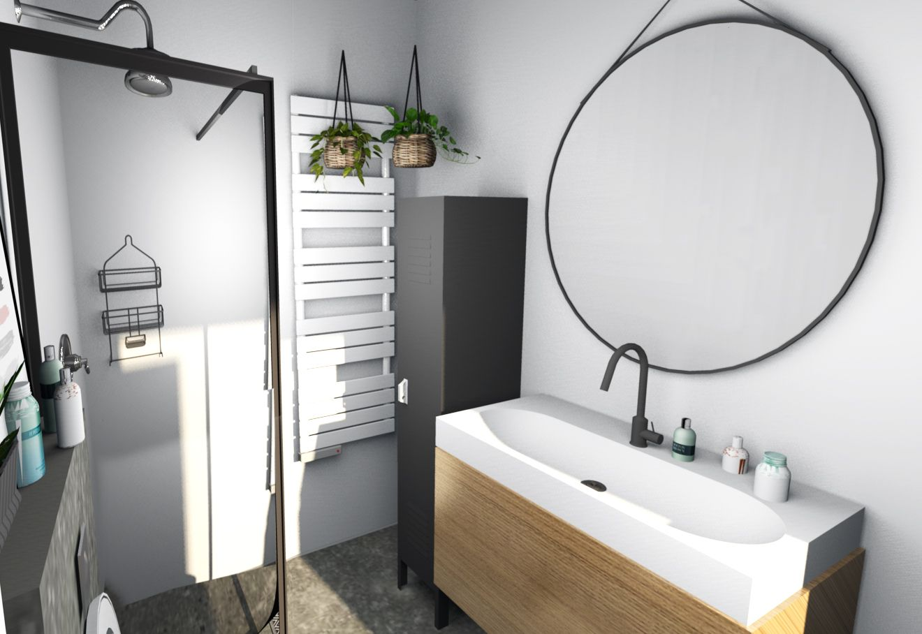 Houten Onderkast Badkamer : Badkamer van beton tegel zwart plafond houten onderkast locker