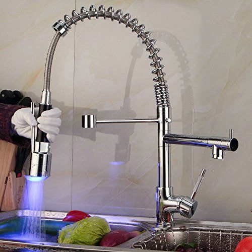 Contemporary Single Handle Two Spouts Kitchen Sink Faucet With Led Pull Out Sprayer