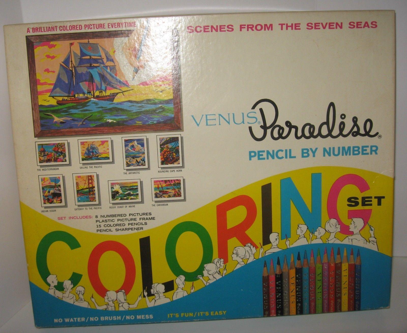 VENUS Paradise Coloring Set~Vtg Color by Number~Pencils ...