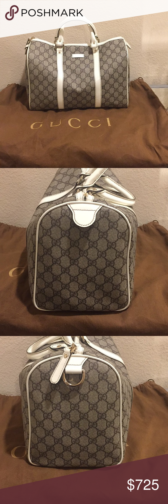 4be5d4c4b Authentic Gucci GG Plus Monogram Joy Boston Bag Gucci GG monogram brown on  beige coated canvas