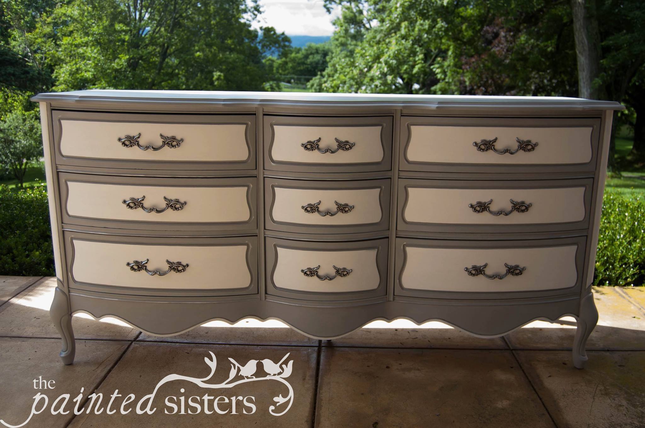 Two Tone Painted Provincial Dresser In Gray And Cream Or Off White