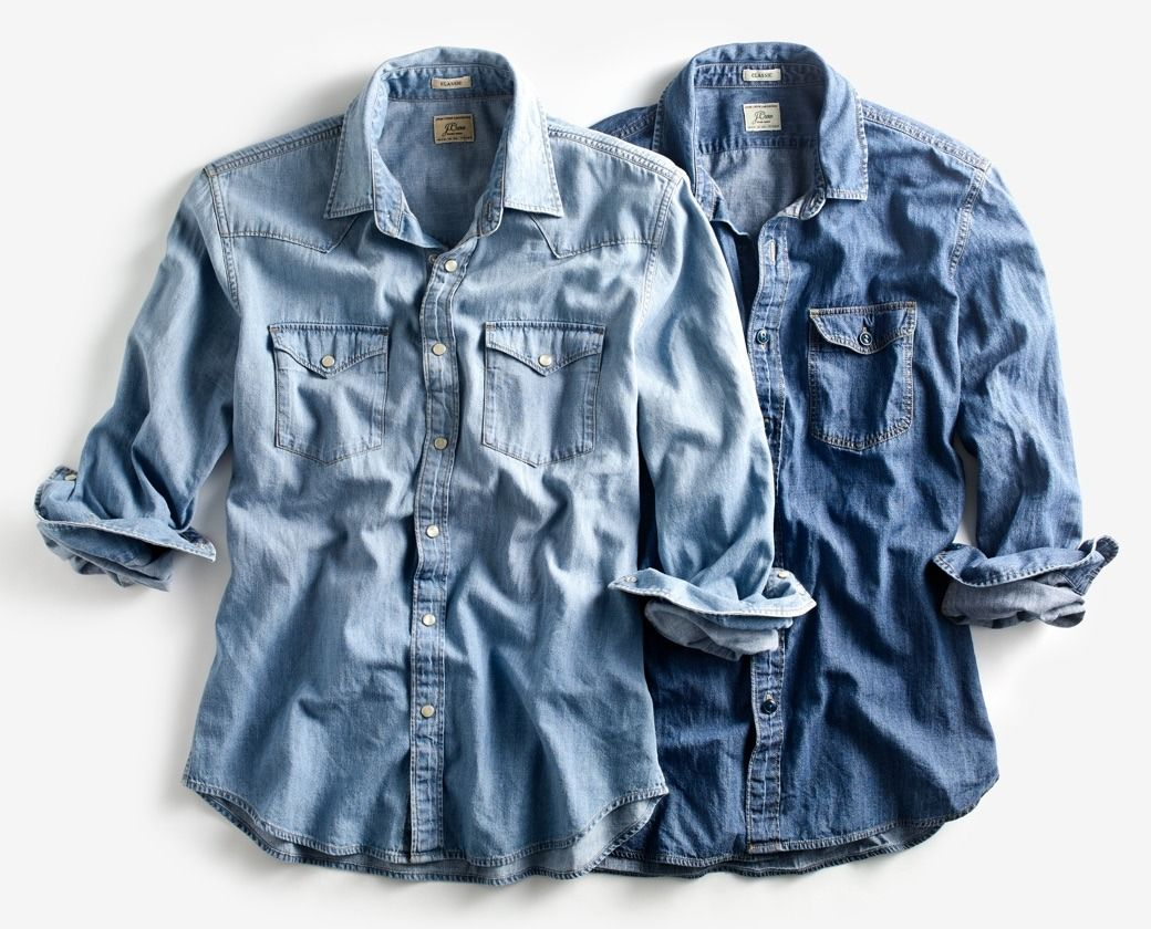 49a49c1abc J.Crew men s lightweight denim Western shirt and lightweight denim  workshirt.