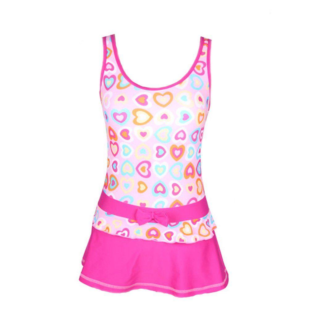 Bikman loving heart printed swim dress swimwear girls one piece